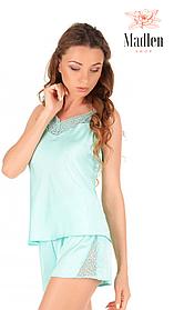 Мятная шелковая пижама с кружевом Martelle Lingerie