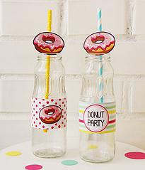 "Набор наклеек на бутылки и трубочек ""Donuts"""