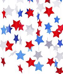 """Паперова гірлянда з блискучих зірок """"Америка"""" (2 метри)"""