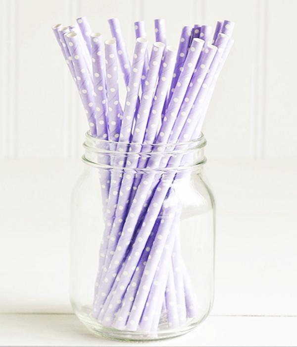 "Бумажные трубочки для ""Purple white dots"" (10 шт.)"