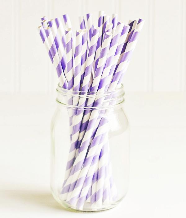 """Бумажные трубочки """"Lavender  white stripes"""" (10 шт.)"""
