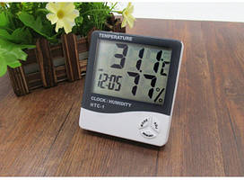 Цифровой комнатный термометр HTC-1 LCD, гигрометр, часы  3в1
