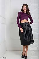 Эффектная трендовая юбка в складку из экокожи Holly