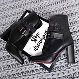 ЗИМА и ДЕМИ! Элегантные ботильоны на каблуке кожаные черные, фото 4