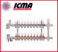 """Коллекторная группа с расходомерами 1""""на 10 контуров Icma № К0111"""