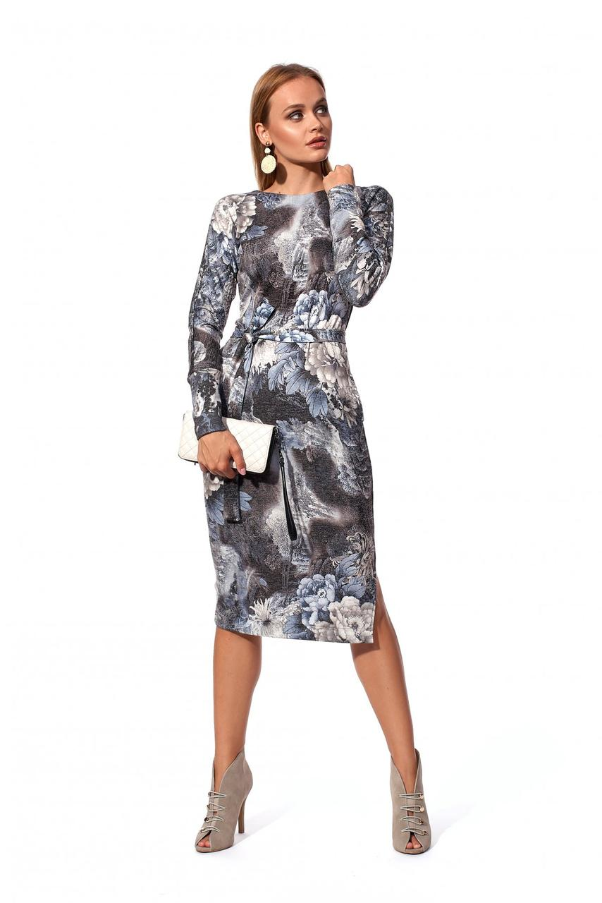 / Размер 42-44,46-48 / Женское повседневное платье с цельнокроеным рукавом 1189.2_серый