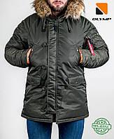 Зимняя мужская куртка аляска Olymp - Аляска N-3B, Slim Fit, Color: Khaki (100% Нейлон)