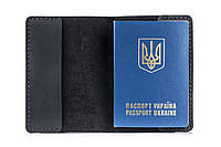 Кожаная обложка для паспорта черная