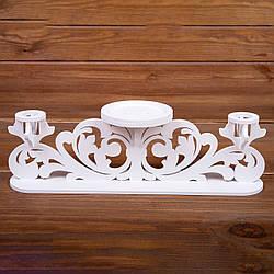 """Белый свадебный подсвечник тройной для """"Семейного очага"""" из дерева"""