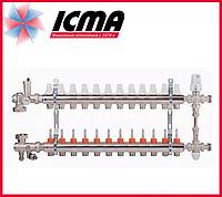 """Коллекторная группа с расходомерами 1""""на 12 контуров Icma № К0111"""