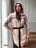 Платье худи стильное теплое с капюшоном и поясом в комплекте Smfl3789