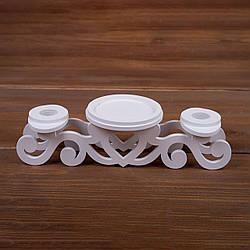 """Тройной белый свадебный подсвечник  для """"Семейного очага"""" из дерева"""