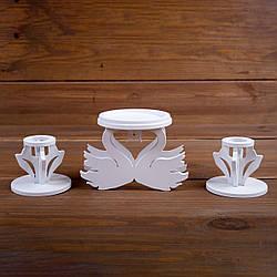 Набор свадебных подсвечников с лебедями из дерева белого цвета