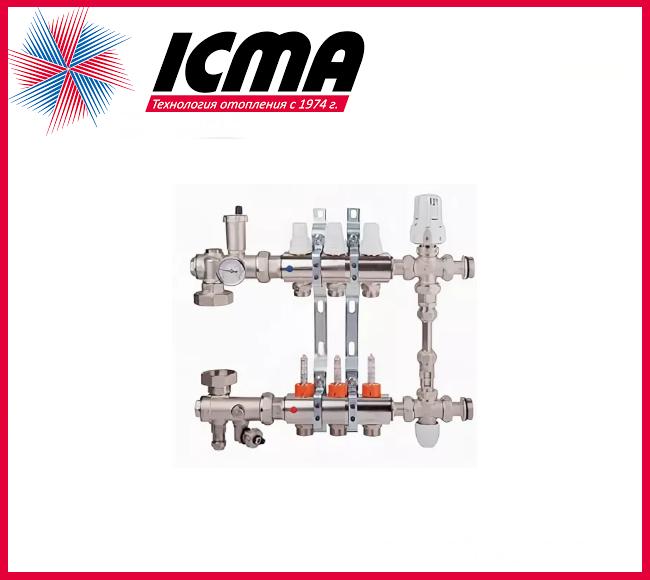 """Коллекторная группа с расходомерами 1""""на 3 контура Icma № К0111"""