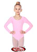 Купальник гимнастический детский, светло-розовый GM030128(бифлекс, р-р 0-M, рост 98-146см)