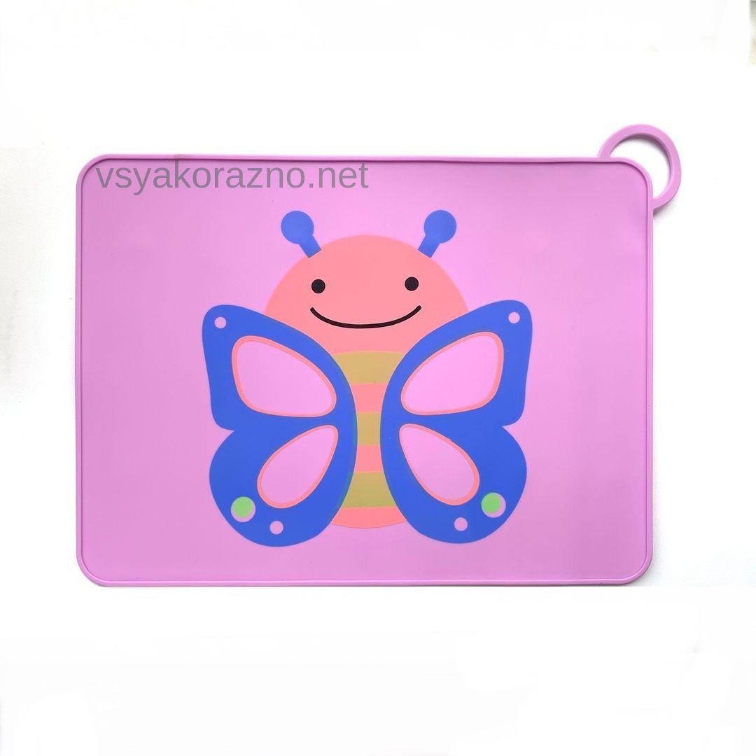 Детский сервировочный коврик бабочка на стол (сиреневый)