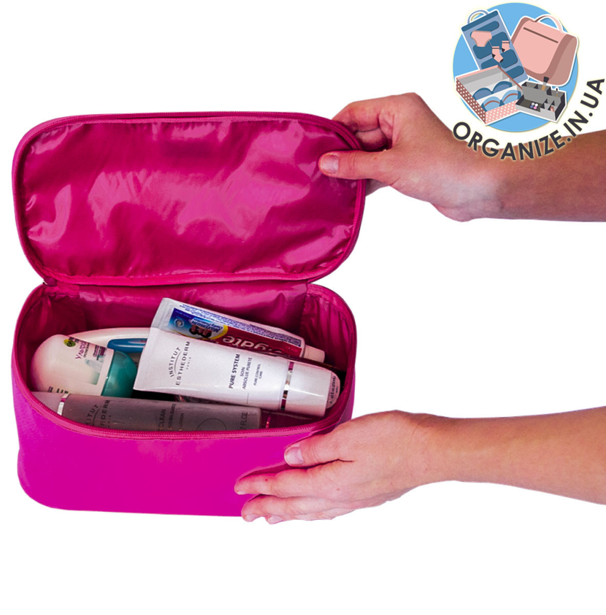 Дорожный органайзер для косметики ORGANIZE (розовый)
