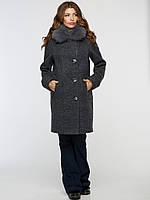 Женское зимнее шерстяное пальто с натуральным мехом 42-50 размеры в наличии