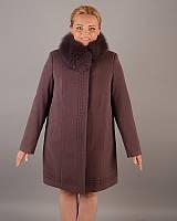 Зимнее кашемировое пальто женское с натуральным мехом