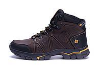 Мужские зимние кожаные ботинки Columbia Chocolate  (реплика), фото 1