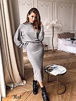 Костюм женский вязаный стильный обьемный свитер и юбка миди Kfl1117, фото 1
