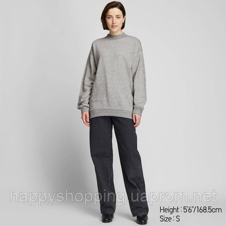 Женский серый свитшот свободного фасона  Uniqlo (размер XS)
