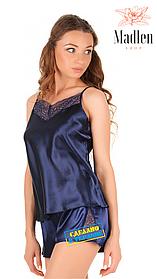 Синяя атласная пижама с кружевом Martelle Lingerie