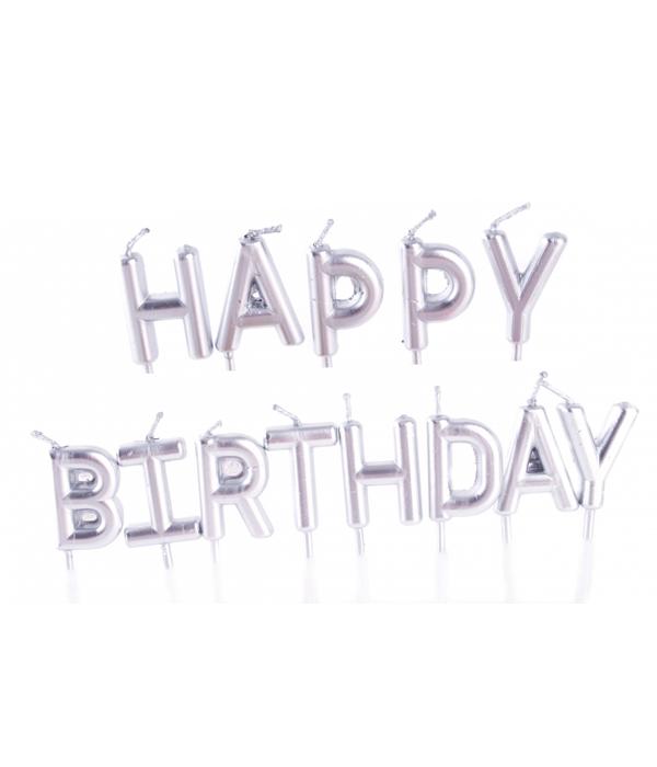 """Свічки для торта срібні """"Happy Birthday"""""""
