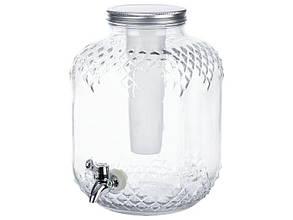 Стеклянный диспенсер для напитков Ernesto, серебристый 6 Л, LT9802