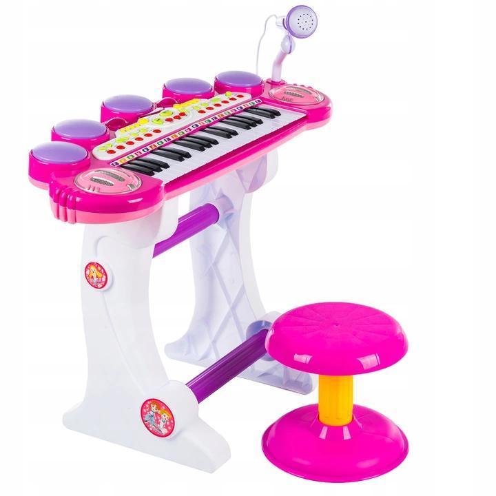 Детский синтезатор, пианино со стульчиком + микрофон + USB + MP3 + караоке Kinderplay