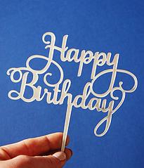 """Топпер для торта """"Happy birthday"""" (серебряный)"""