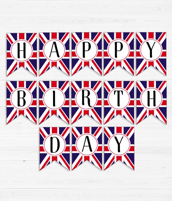 """Бумажная гирлянда """"Happy Birthday"""" в британском стиле"""
