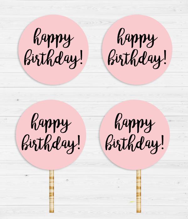 """Топпери для капкейків """"Happy Birthday"""""""