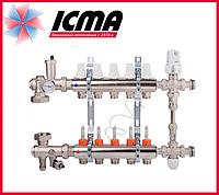 """Коллекторная группа с расходомерами 1""""на 5 контуров Icma № К0111"""
