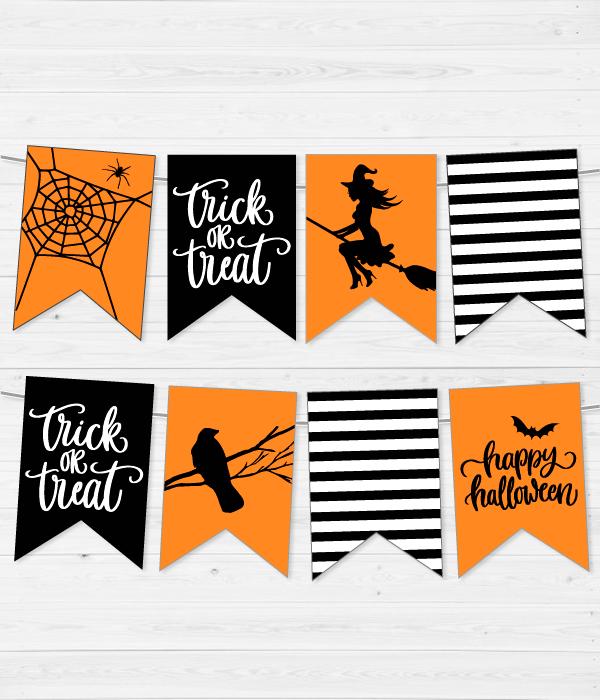 """Паперова гірлянди з прапорців """"Halloween mix"""" (8 прапорців)"""