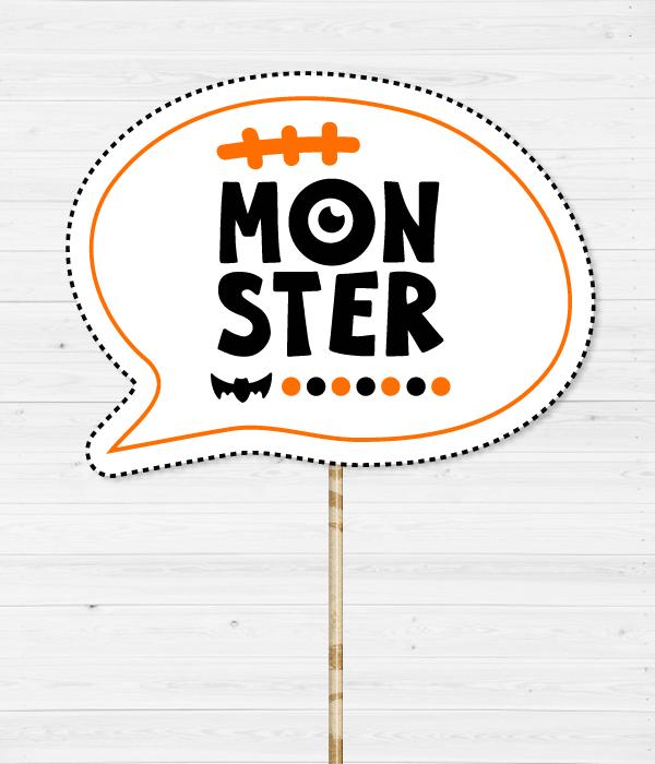 """Фотобутафория на Хэллоуин - табличка """"Monster"""""""