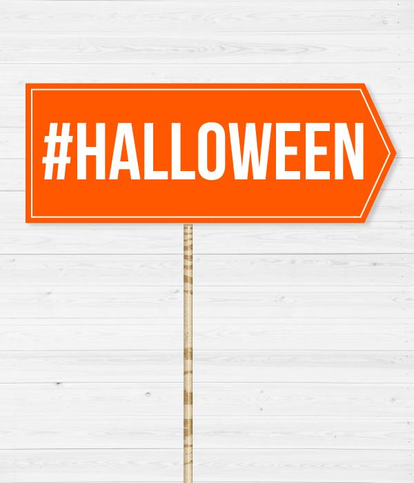 "Табличка для фотосессии на Хэллоуин ""#HALLOWEEN"""