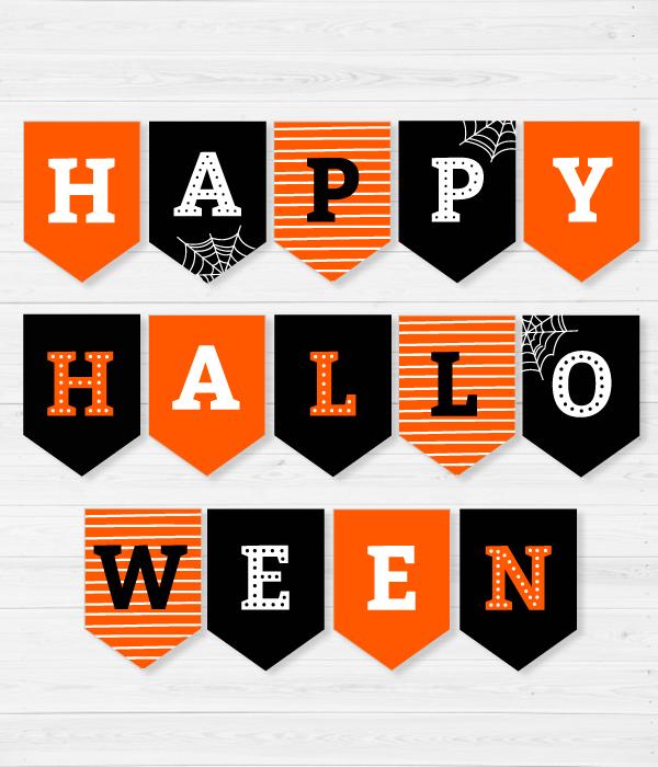 """Гирлянда из флажков """"Happy Halloween"""""""