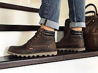 Мужские зимние ботинки темно коричневые Levis 8514