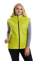 Стильний.,жіночий,демісезонний жилет,знімний капюшон, розміри: 44,46,48,лимон (1) жіночий жилет