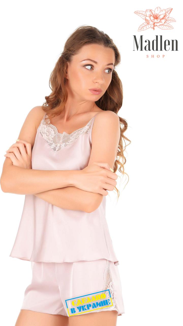 Атласная пижама с кружевом Martelle Lingerie розовая пудра