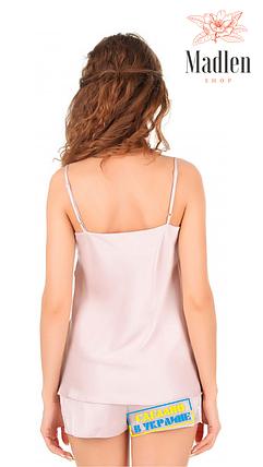 Атласная пижама с кружевом Martelle Lingerie розовая пудра, фото 2