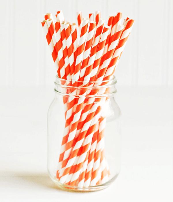 """Бумажные трубочки """"Orange white stripes"""" (10 шт.)"""