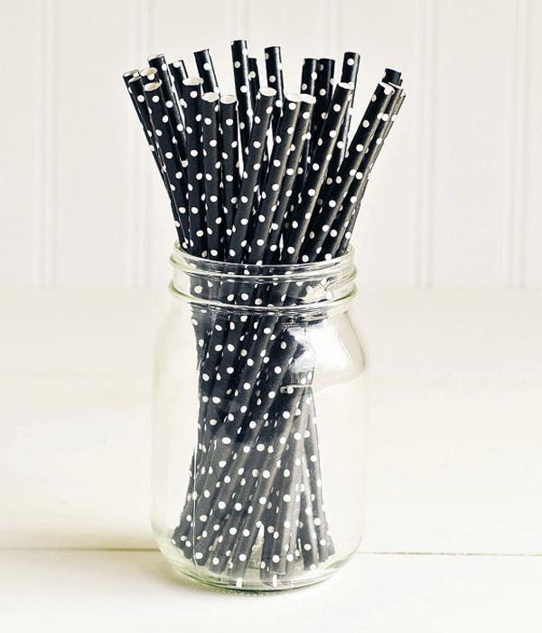 """Бумажные трубочки """"Black white dots"""" (10 шт.)"""