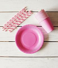 "Набор посуды - тарелочки, стаканчики и трубочки ""Розовый микс"" (30 шт.)"
