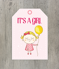 "Ярлычок для подарка ""It's a girl"""
