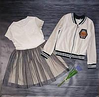 Хит!! Очень модный костюм тройка на девочку с пышной юбкой ажур 122р/146р