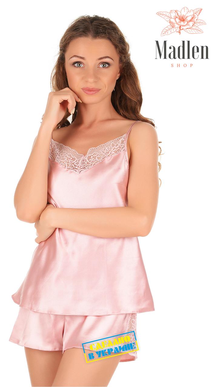 Розовая атласная пижама с кружевом Martelle Lingerie