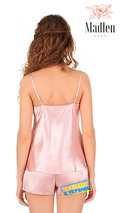 Розовая атласная пижама с кружевом Martelle Lingerie, фото 2
