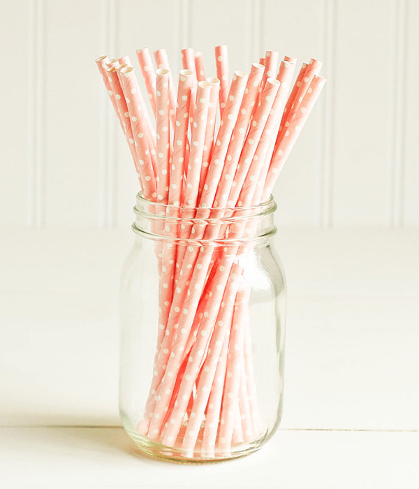 "Бумажные трубочки для ""Baby pink white dots"" (10 шт.)"